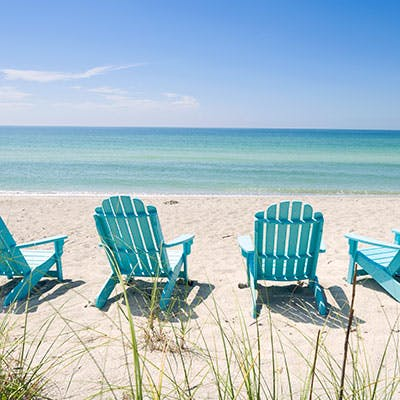 Beach chairs lined up along the sand