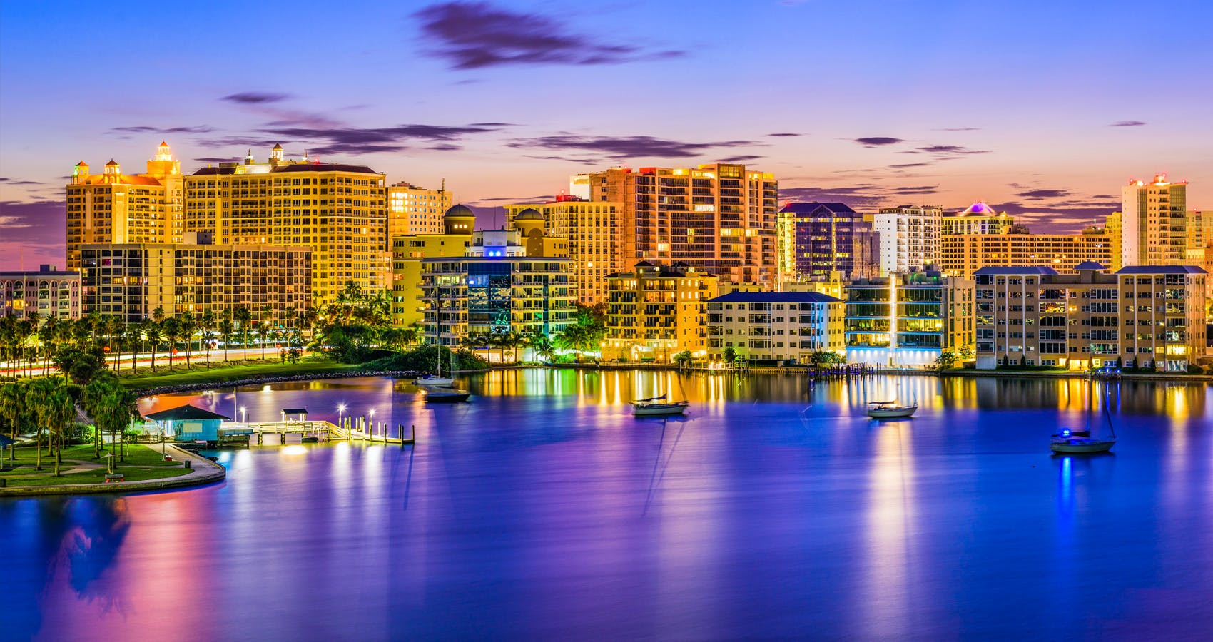 Beautiful downtown Sarasota by the waterfront